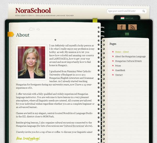 HTML 5-ös honlap a NoraSchool számára