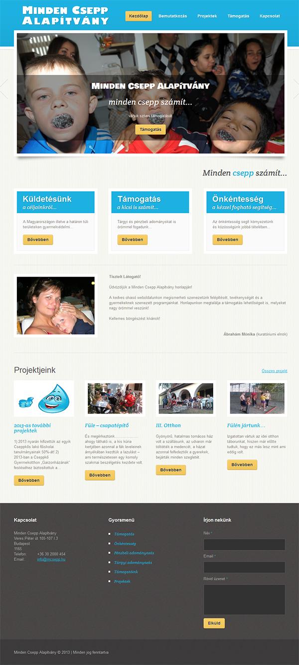 Reszponzív honlap a Minden Csepp Alapítványnak